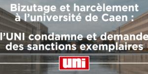 Image Bizutage et harcèlement à l'université de Caen : l'UNI condamne et demande des sanctions exemplaires