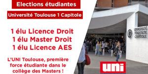 Image L'UNI Toulouse renouvelle ses 3 élus UFR à UT1 !