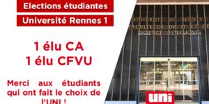 Image L'UNI conserve 2 élus à Rennes 1